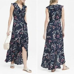 Banana Republic Floral Ruffle-Wrap Maxi Dress Navy